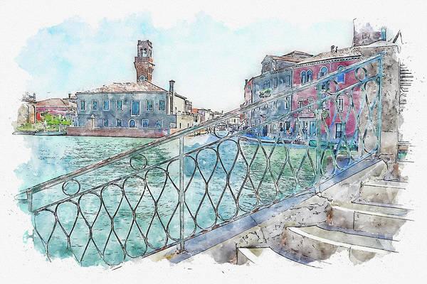 Wall Art - Digital Art - Venice #watercolor #sketch #venice #italy by TintoDesigns