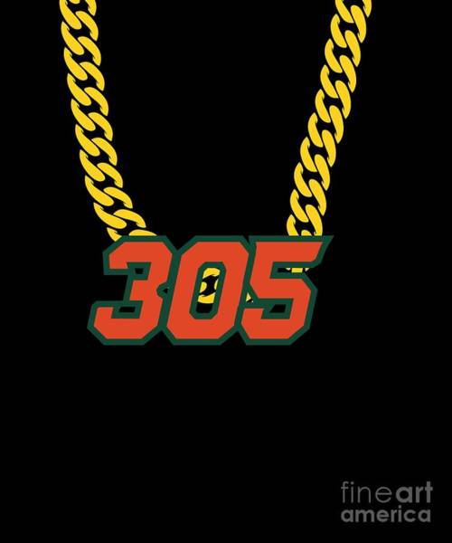 Miami-dade Digital Art - 305 Miami Swagger Necklace by Mike G