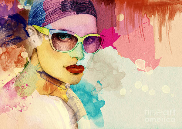 Colored Glass Digital Art - Woman Face. Hand Painted Fashion by Anna Ismagilova
