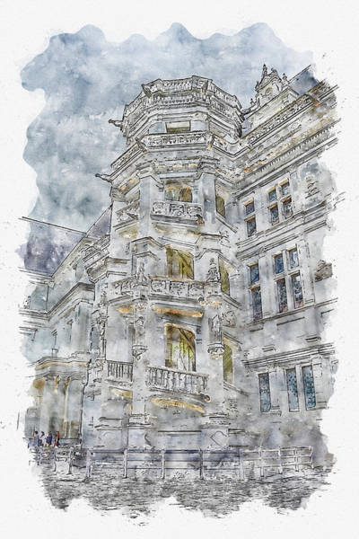 Chs Digital Art - Architecture #watercolor #sketch #architecture #building by TintoDesigns