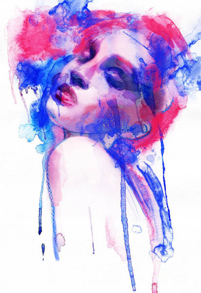 Wall Art - Digital Art - Woman Face. Hand Painted Fashion by Anna Ismagilova
