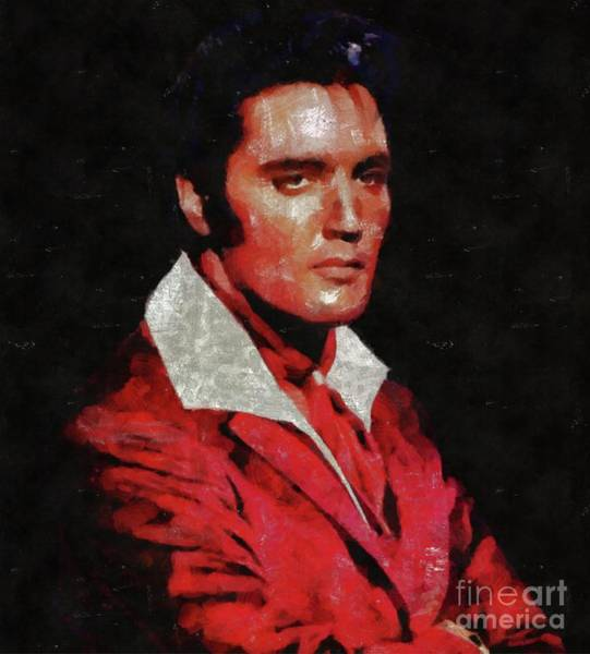 Wall Art - Painting - Elvis Presley, Rock And Roll Legend by Mary Bassett