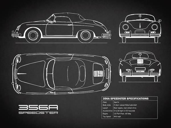 Photograph - 356a Speedster Blueprint Black by Mark Rogan