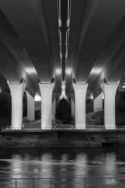 Wall Art - Photograph - 35w Bridge Stands Firm Bw Signed by Karen Biwersi
