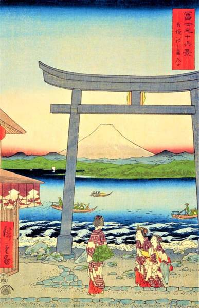 Gateway Painting - 36 Views Of Mt.fuji - Sagami Enoshima Entrance by Utagawa Hiroshige