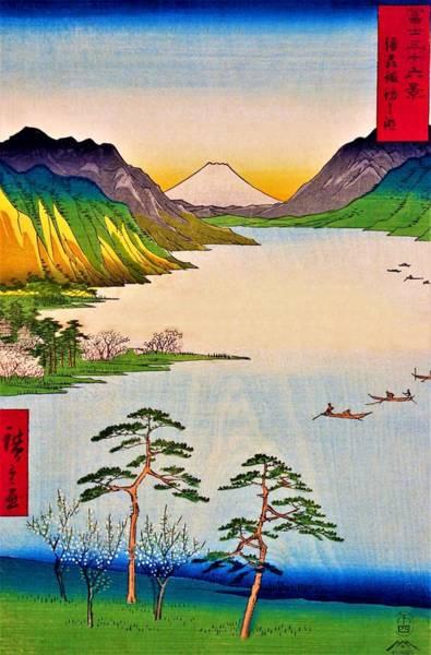 Wall Art - Painting - 36 Views Of Mt.fuji - Shinshu Suwa Lake by Utagawa Hiroshige