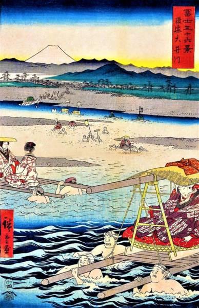 Mounted Digital Art - 36 Views Of Mt.fuji - Suien Oigawa by Utagawa Hiroshige