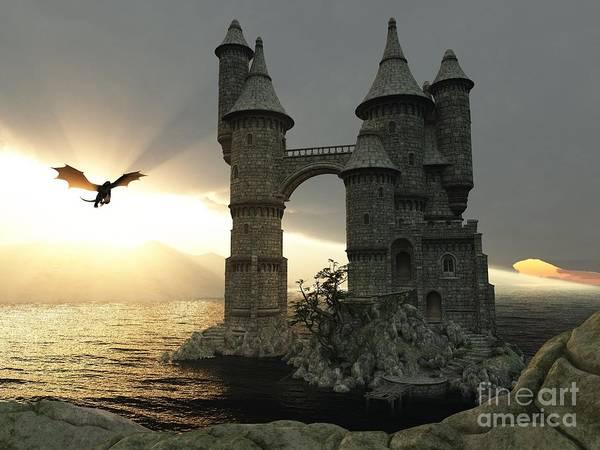 Wall Art - Digital Art - 3d Illustration Fantasy Landscape With by E71lena