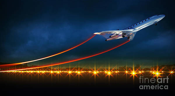 Wall Art - Digital Art - 3d Illustration Of An Aircraft At Take by Egorov Artem