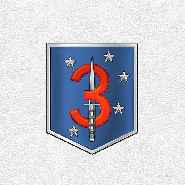Digital Art - 3d Marine Raider Battalion - 3d Marine Special Operations Battalion M S O B  Patch White Leather by Serge Averbukh