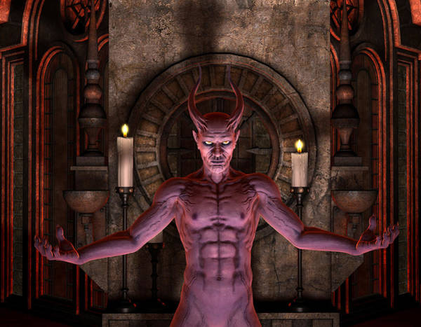 Prince Of Darkness Digital Art - 3d Rendering Devil In Front Of A Dark Shrine - Illustration  by Caids Ados