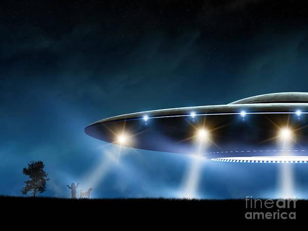 Wall Art - Digital Art - 3d Rendering Of Flying Saucer Ufo On by Oorka