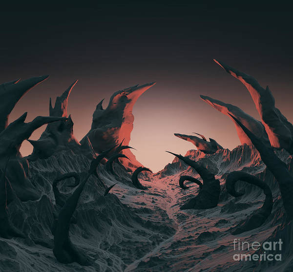Mystery Digital Art - 3d Rendering Of Horror Landscape. Dry by Bug fish