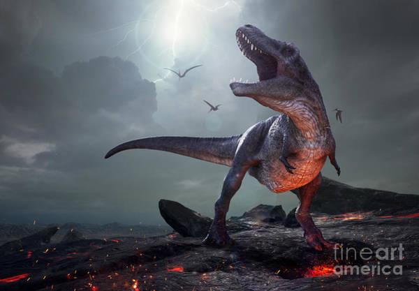 Wall Art - Digital Art - 3d Rendering Of Tyrannosaurus Rex Near by Herschel Hoffmeyer