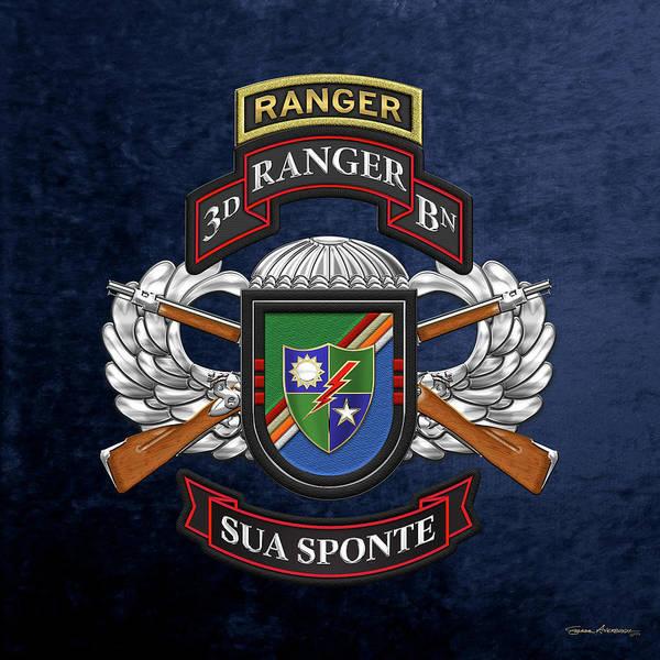Digital Art - 3rd Ranger Battalion - Army Rangers Special Edition Over Blue Velvet by Serge Averbukh