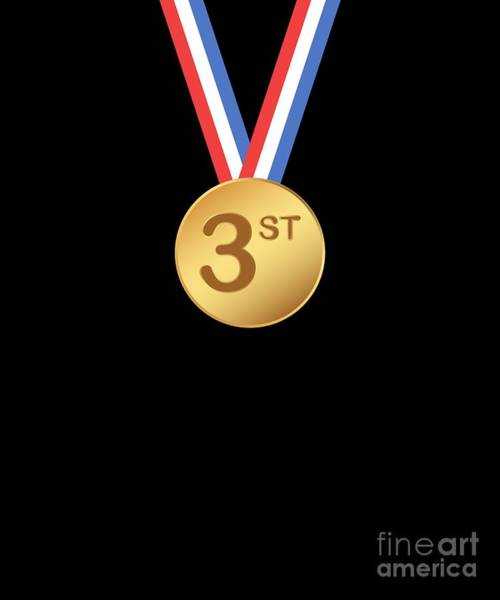 Gold Medal Drawing - 3st Place Gold Medal Tshirt Award Ceremony Gift Tees by Noirty Designs