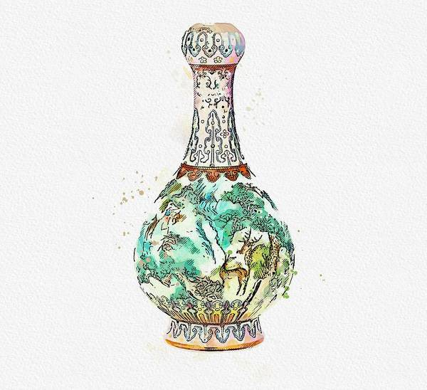 Painting - A Famille Rose Two-handled  Birds And Flowers  Vase Watercolor By Ahmet Asar by Ahmet Asar