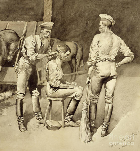 Wall Art - Painting - A Haircut In A Cavalry Stable by Frederic Remington