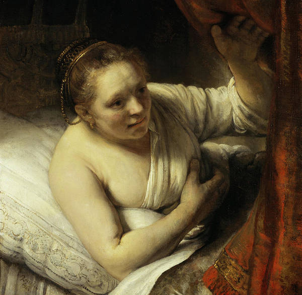Wall Art - Painting - A Woman In Bed by Rembrandt van Rijn