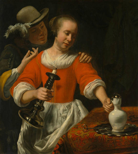Painting - A Young Woman And A Cavalier by Cornelis Bisschop