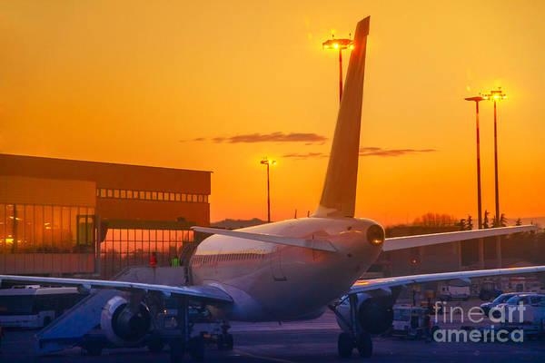 Photograph - Airplane At Sunset by Benny Marty