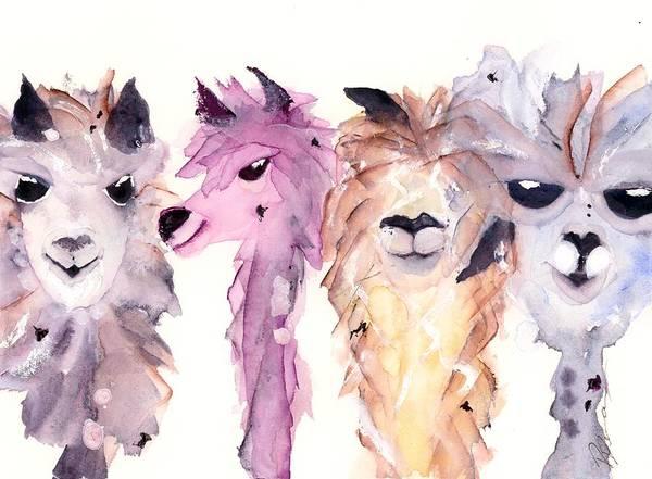 Alpaca Painting - 4 Alpacas by Dawn Derman