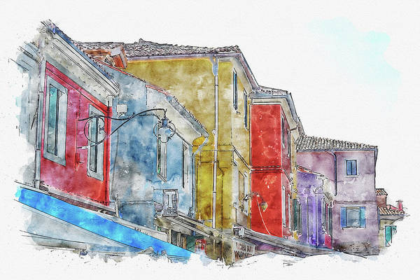 Wall Art - Digital Art - Architecture #watercolor #sketch #architecture #castle by TintoDesigns