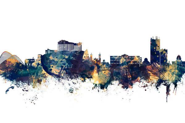 Wall Art - Digital Art - Athens Greece Skyline by Michael Tompsett