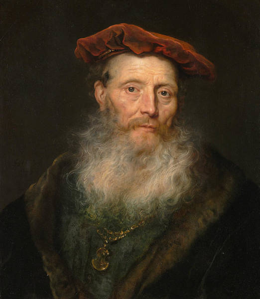 Wall Art - Painting - Bearded Man With A Velvet Cap by Govert Flinck