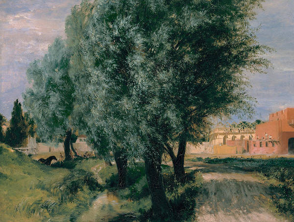 Painting - Building Site With Willows by Adolph Menzel