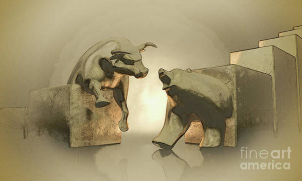 Wall Art - Digital Art - Bull And Bear Market Statues by Allan Swart