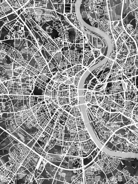 Wall Art - Digital Art - Cologne Germany City Map by Michael Tompsett