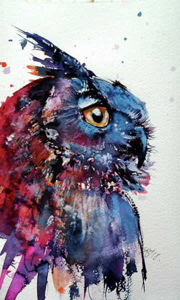 Wall Art - Painting - Cute Owl by Kovacs Anna Brigitta