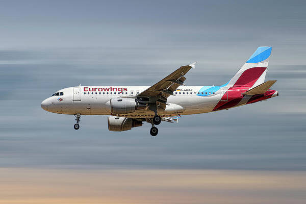 Wall Art - Mixed Media - Eurowings Airbus A319-112 by Smart Aviation