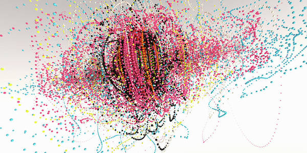Wall Art - Photograph - Exploding Strings Of Multi Colored Beads by Ikon Images