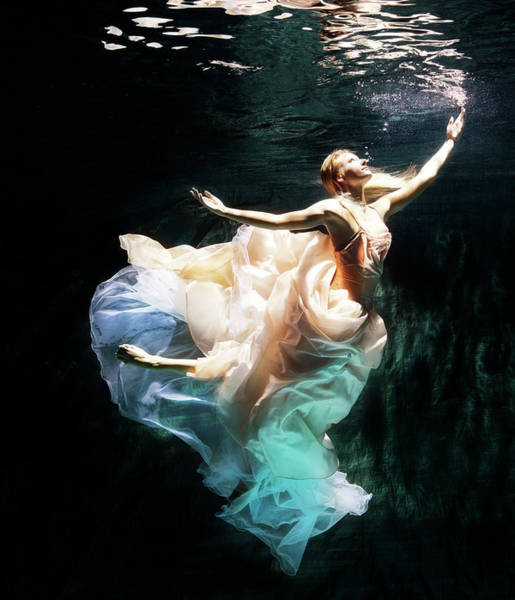 Dress Photograph - Female Dancer Performing Under Water by Henrik Sorensen