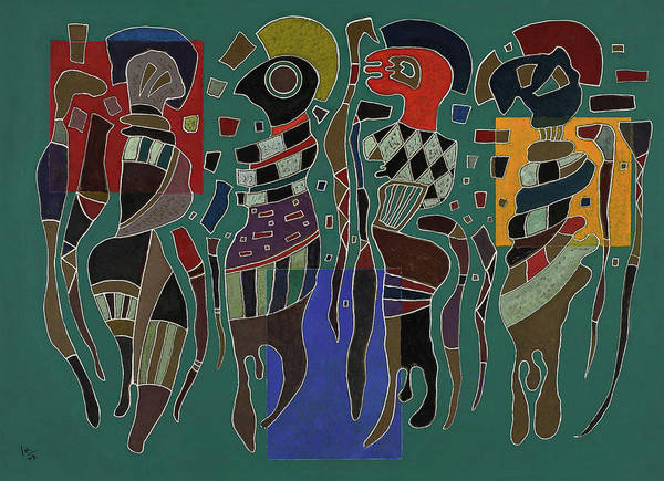 Voodoo Painting - 4 Figures On 3 Squares, 1943 by Wassily Kandinsky