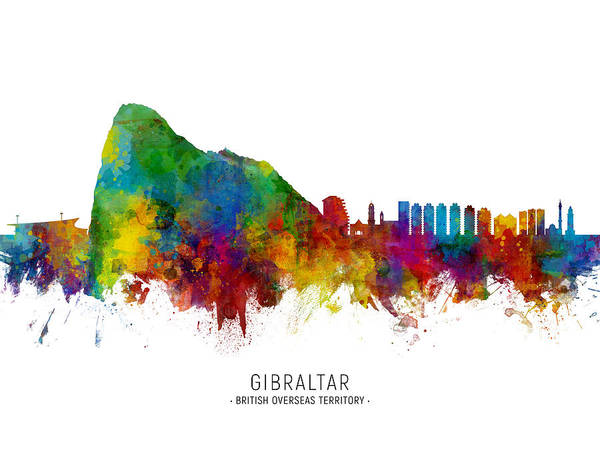 Wall Art - Digital Art - Gibraltar Skyline by Michael Tompsett
