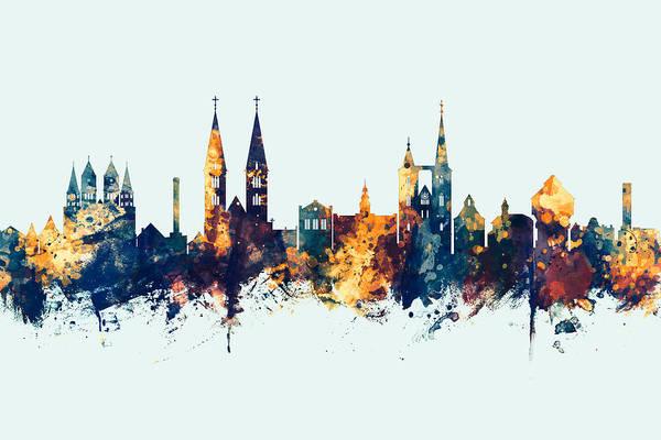 Digital Art - Halberstadt Germany Skyline by Michael Tompsett