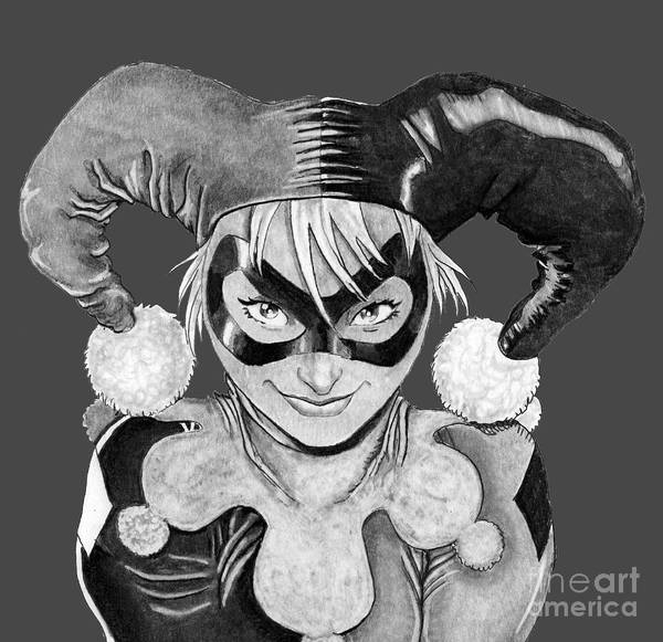 Drawing - Harley Quinn by Bill Richards