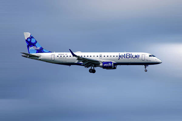 Wall Art - Mixed Media - Jetblue Airways Embraer Erj-190ar by Smart Aviation