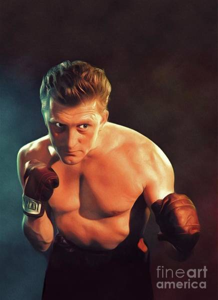 Boxing Painting - Kirk Douglas, Vintage Actor by John Springfield
