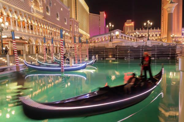 Photograph - Las Vegas River Gondolas At Night by Alex Grichenko