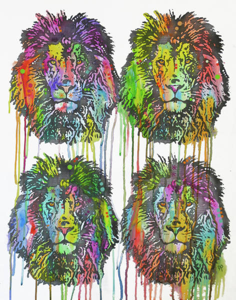 Painting - 4 Lions by Dean Russo Art