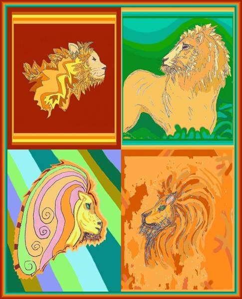 Drawing - 4 Lions by Julia Woodman