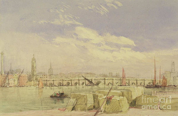 Wall Art - Painting - London Bridge by David Cox