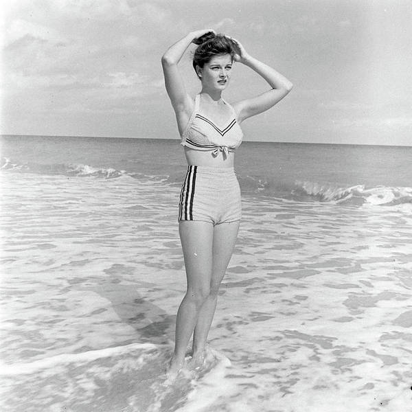 Florida Photograph - Model Posing On Beach In Two Piece by Nina Leen