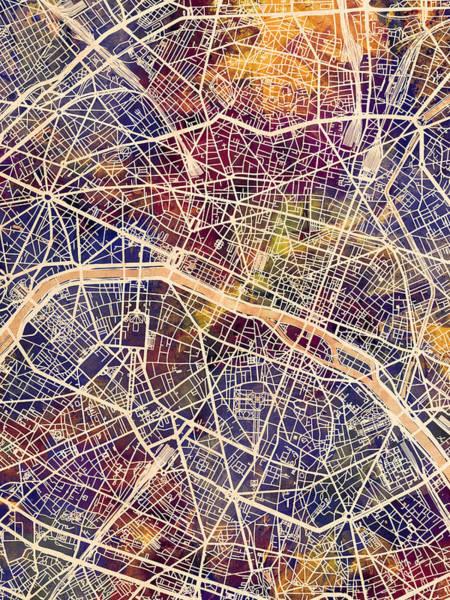 Digital Art - Paris France City Map by Michael Tompsett
