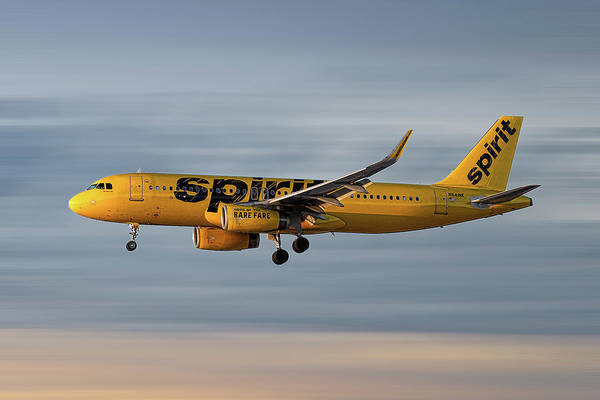 Wall Art - Mixed Media - Spirit Airlines Airbus A320-232 by Smart Aviation