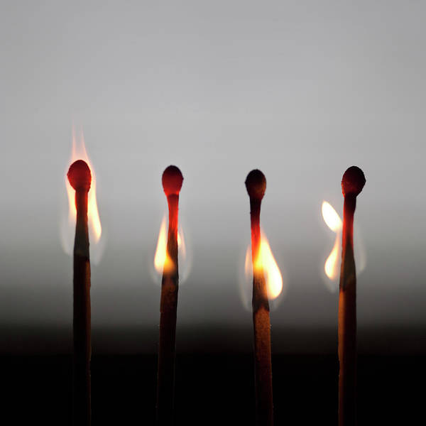 Wall Art - Photograph - 4 Spoons Burning Down To Imminent Death by Maciej Toporowicz, Nyc